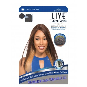 Sensationnel Live Brazilian 100% Remi Human Hair Lace Wig Yaki Straight 20""