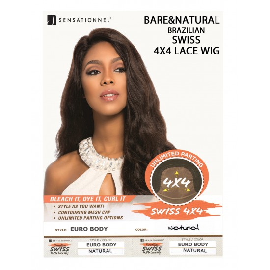 Sensationnel Brazilian Unprocessed Virgin 100% Remy Human 4x4 Lace Wig Euro Body