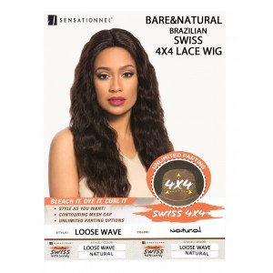 Sensationnel Brazilian Unprocessed Virgin 100% Remy Human 4x4 Lace Wig Loose Wave