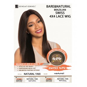 Sensationnel Brazilian Unprocessed Virgin 100% Remy Human 4x4 Lace Wig Natural Yaki