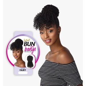 Ebo Synthetic Instant Bun With Bangs Fairy Jerry Curl