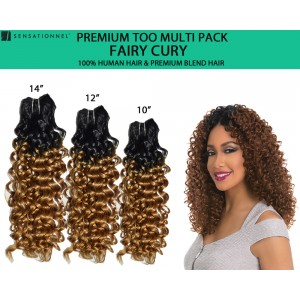 Sensationnel Premium Too Multi Pack 100% Human Hair & Premium Blend Hair Weave Fairy Curl
