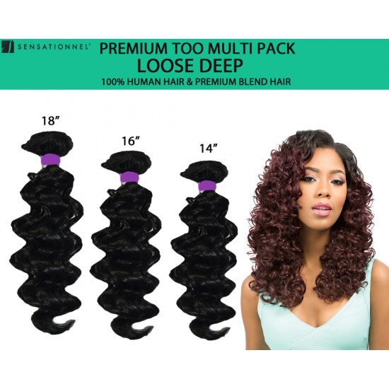 Sensationnel Premium Too Multi Pack 100% Human Hair & Premium Blend Hair Weave Loose Deep