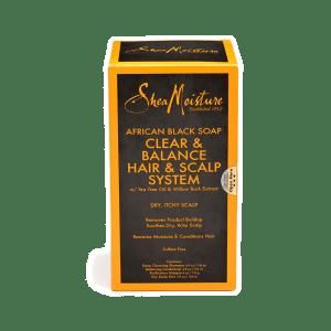 shea moisture african black soapclear & balance hair & scalp system