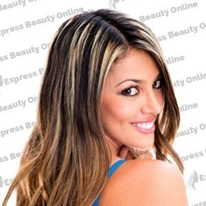 "12"" clip in 10 pcs 100% human remi hair extensions -straight- chestnut brown/off ash blonde (p6/22)"