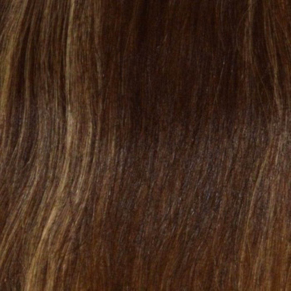 14 clip in 10 pcs 100% human remi hair extensions - chestnut brown/off ash blonde (p6/22)