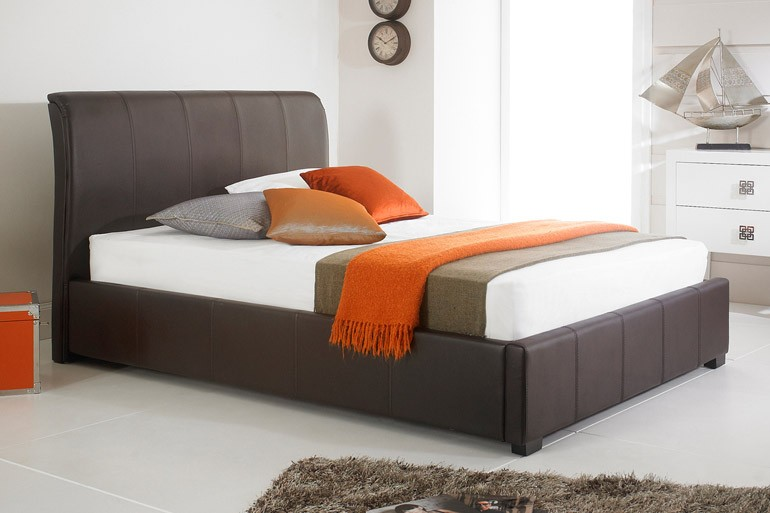 brown faux leather ottoman storage bed 3ft 4ft 4ft6 5ft 6ft