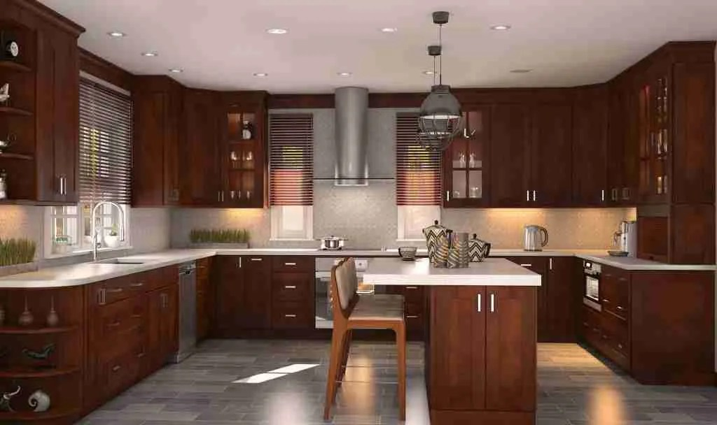 Cubitac Cabinetry Coffee Brown Cabinets in Kitchen with Granite Countertop