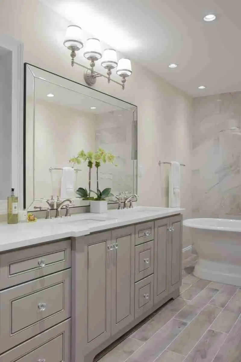 J&K Cabinetry Greige Bathroom with Mirror