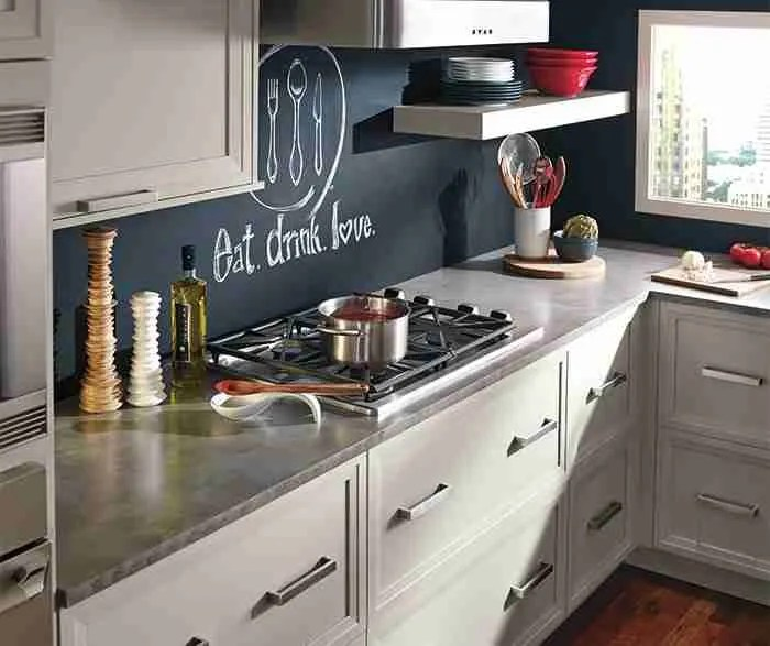 UltraCraft Cabinetry Knotty Grey Cabinets in Casual Kitchen