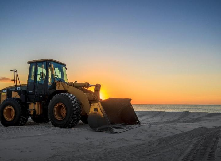 Big front hauler on beach