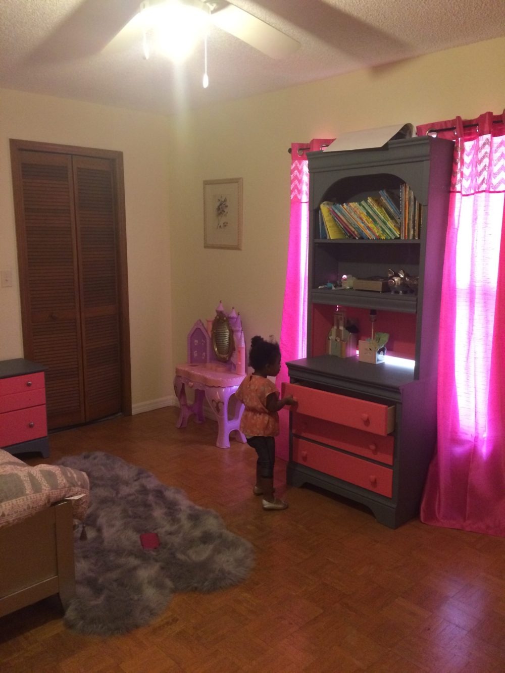 London admiring her Diy furnitures that mommy and daddy did just for her.