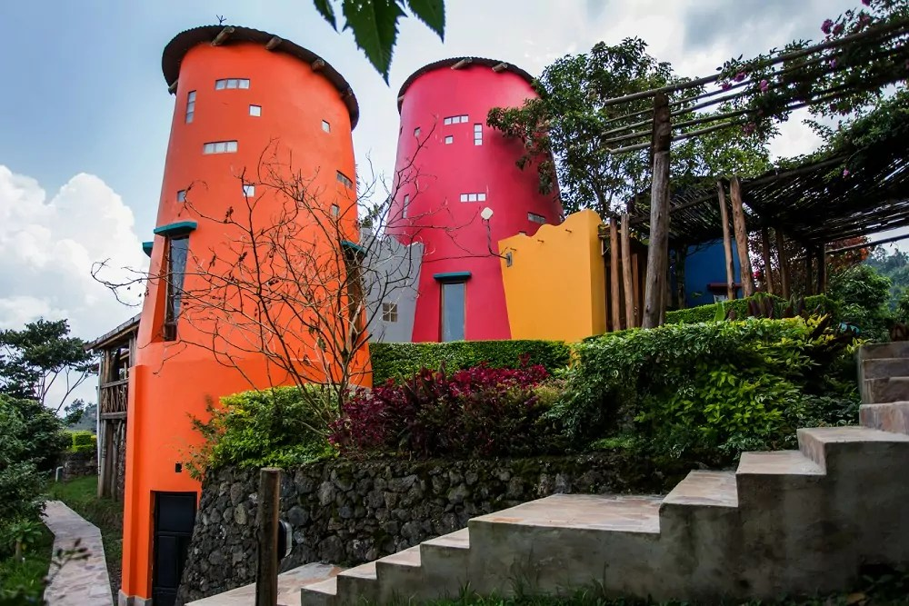 The distinctive colourful towers of Chameleon Hill Lodge