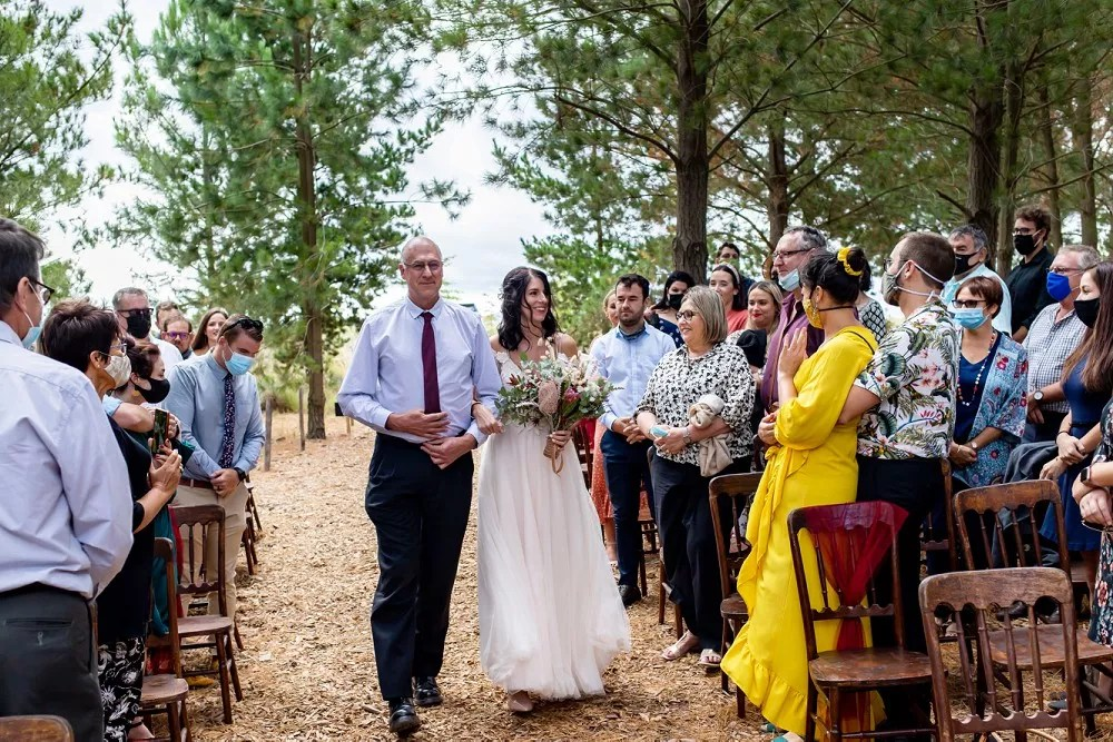 Cherry Glamping wedding cermony forest setting