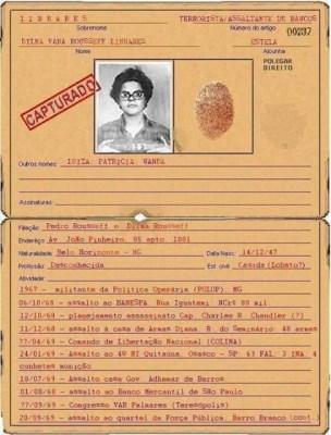 Ficha Criminal de Dilma Rousseff destacanda com Assaltante e Terrorista