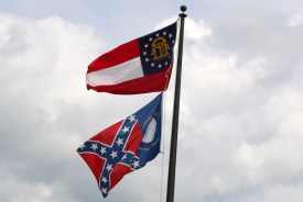 The city flag in Trenton, Ga., is the old state flag. (Photo by Todd DeFeo)