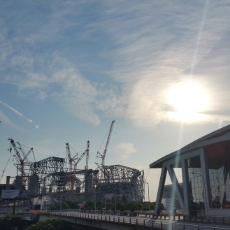 The new Atlanta Falcons stadium rises on May 11, 2016.