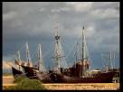 La Pinta, La Niña y La Santa Marñia en el Puerto de la Rabida Huelva, después de la Expo