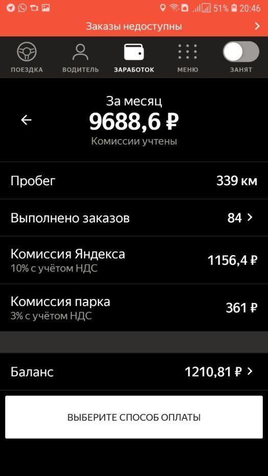 Комиссия Яндекс Такси 10%