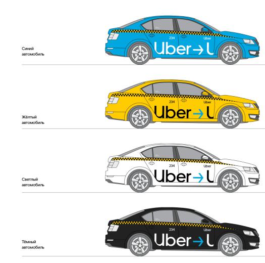 Образец оклейки Uber для автомобилей без молдинга