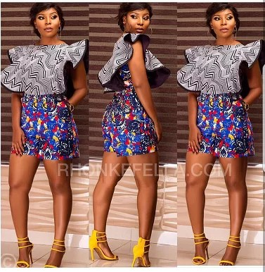 The Serwa Ankara mixed pattern playsuit