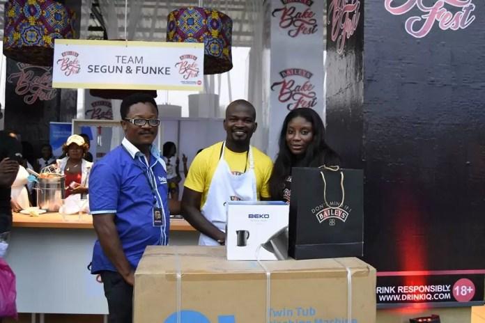 3rd runner up Baileys BakeFest 2017- Funke Akindele & Segun Adeyemi Adesina & Brand Manager Baileys Nigeria, Ufuoma Udjoh