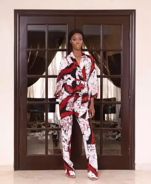 Ono Bello in Tie & Dye Print Trousers & Wrap Top by Nigeria Brand Amede 5