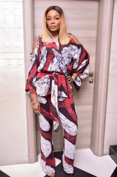 Ono Bello in Tie & Dye Print Trousers & Wrap Top by Nigeria Brand Amede 1