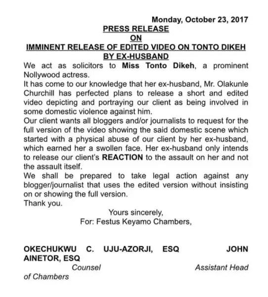 Tonto Dikeh's lawyer speaks 1