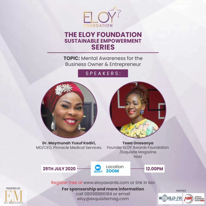 Eloy Awards Foundation 2020 Webinar Series: Day Three -Mental Awareness To Sustain You As A Business Owner Or Entrepreneur 1
