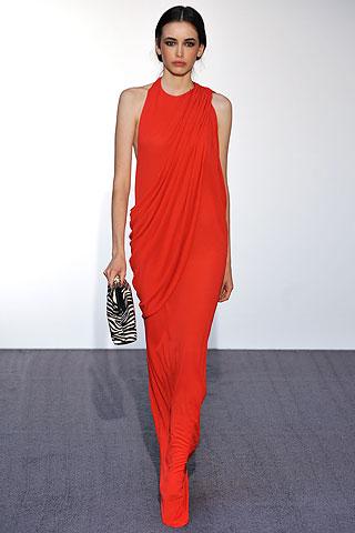 Halston Sari Drape Scarlet Dress on Exshoesme.com