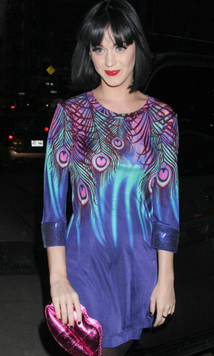 Katy Perry rocking the peacock frock by Mathew Williamson for H&M