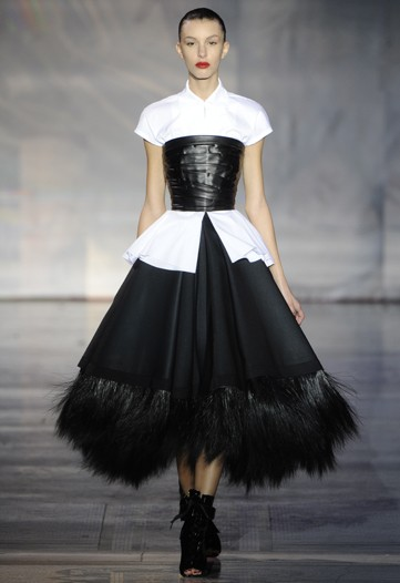 Giles FW11 Black and White gown with corset and fur skirt on exshoesme.com