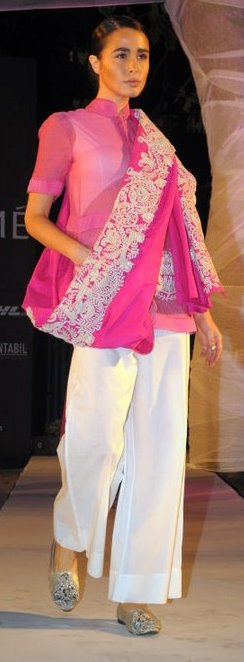 Anamika Khanna Summer Resort 2011 pink embroidered blouse and white pants on exshoesme