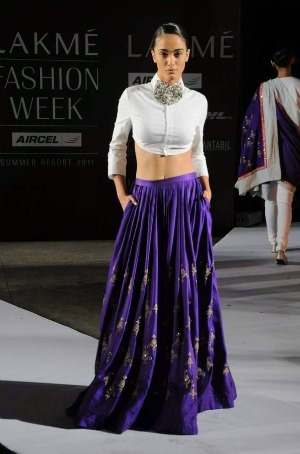 Anamika Khanna Summer Resort 2011 lainga and cropped shirt on exshoesme.com