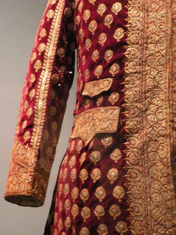 Close up of jacket worn by Sadiq Muhammad Abbai IV of Bahawalpur, around 1880 on exshoesme.com Photo by Jyotika Malhotra.