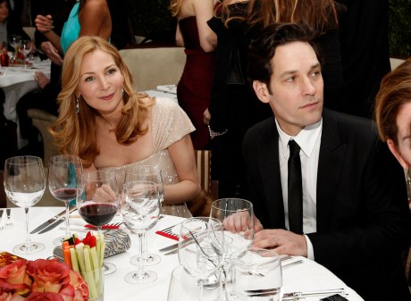 Jennifer Westfeldt and Paul Rudd at the 2011 Vanity Fair Oscar Party on exshoesme.com