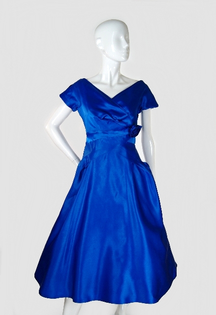 50s Blue Satin Dance Dress via Shrimpton Couture on exshoesme.com
