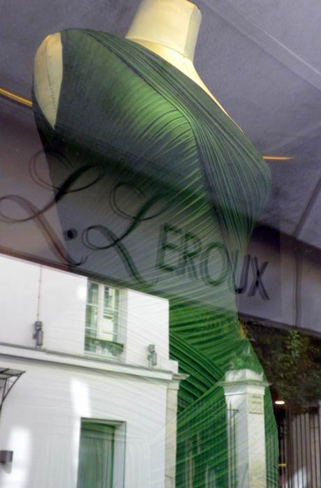 Herve-L-Leroux-Green-Dress in his Paris Boutique Window by Jyotika Malhotra on exshoesme.com