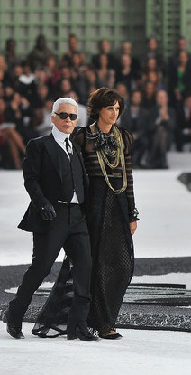 Ines de la Fressange and Karl Lagerfeld at SS11 Chanel Show on exshoesme.com