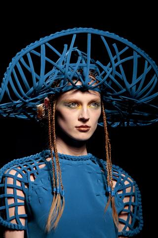Jean Paul Gaultier Woven Blue Hat Couture Spring 2010 on exshoesme.com