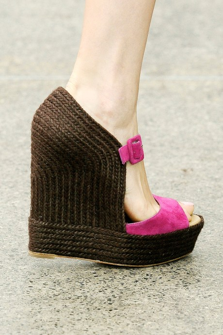 Mary Katranzou Pink and Brown Wedge Sandals SS11 on exshoesme.com