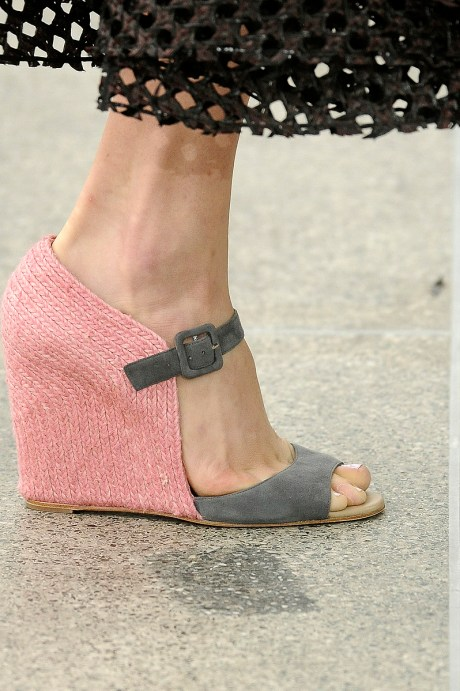 Mary Katranzou Pink and Grey Wedge Sandals SS11 on exshoesme.com