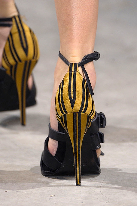 Haider Ackermann SS11 Yellow and Black Striped Sandals on exshoesme.com