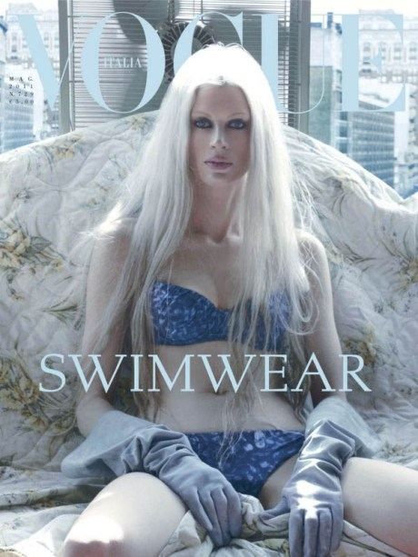 Kristen McMenamy by Steven Meisel for Vogue Italia May 2011 on exshoesme.com