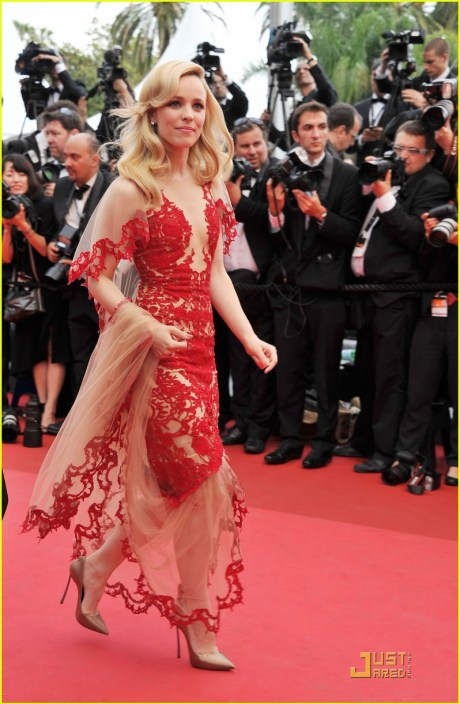 Rachel McAdams in Marchesa at the 2011 Cannes Film Festival on exshoesme.com.