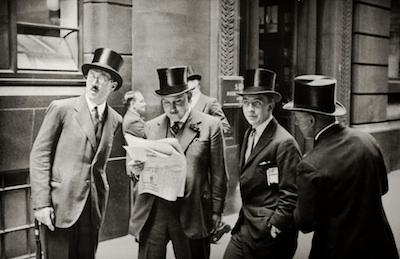 Rendez-vous at the London Stock Exchange, 1937 by E. O. Hoppé on exshoesme.com.