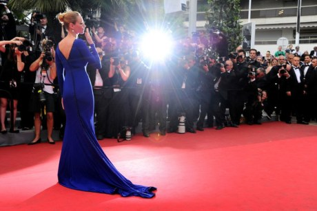 Uma Thurman at the Closing Cerermony at the 2011 Cannes Film Festival on exshoesme.com.