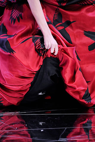 Alexander McQueen Red and Black Bird Gown FW09 on exshoesme.com