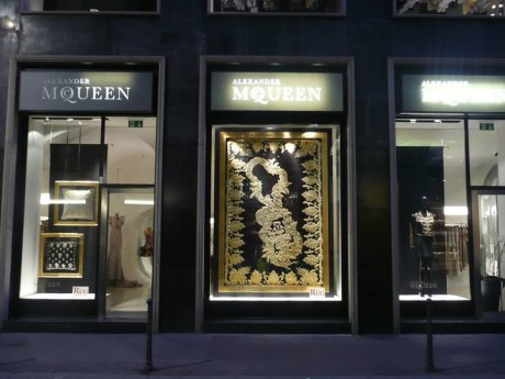 Alexander McQueen Milan Boutique Window with Rug Company display on exshoesme.com